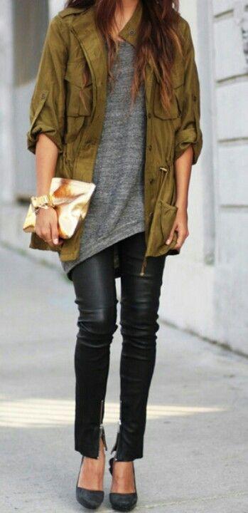 pantalon cuir veste militaire